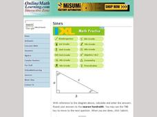 Ten Law of Sines Problems Interactive