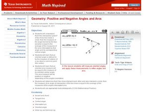 Positive and Negative Angles and Arcs Lesson Plan
