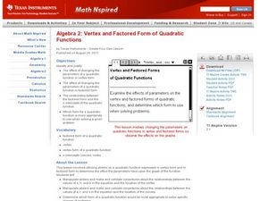 Vertex and Factored Form of Quadratic Functions Lesson Plan