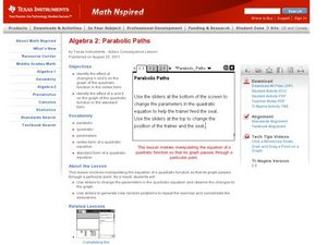Parabolic Paths Lesson Plan