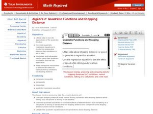 Quadratic Functions and Stopping Distance Lesson Plan