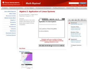 Application of Linear Systems Lesson Plan