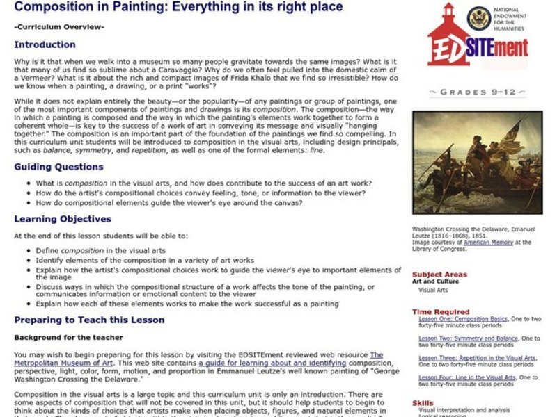 Everything in Its Right Place: an Introduction To Composition in Painting Lesson Plan