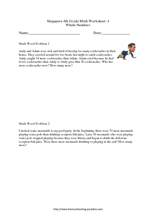 Singapore 4th Grade Math Worksheet: 4: Whole Numbers Word Problems Worksheet  For 4th - 5th Grade Lesson Planet