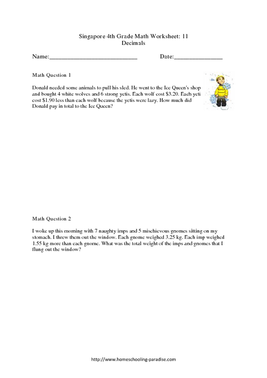 Decimals-Grade 4: Singapore Math Worksheet for 4th - 5th Grade ...