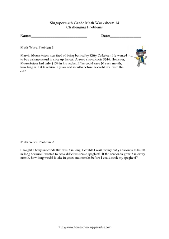 Singapore 4th Grade Math: Challenging Word Problems Worksheet For 4th Grade  Lesson Planet