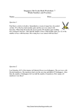 Singapore 5th Grade Math Worksheet: 7 Whole Numbers and Fractions Worksheet