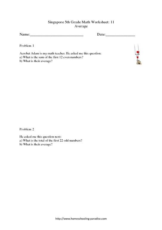 Grade 5 Singapore Math Average Worksheet For 4th 6th Grade