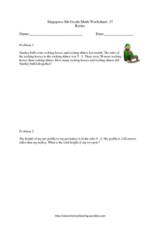 grade 5 singapore math 17 ratios worksheet for 5th 6th grade lesson planet. Black Bedroom Furniture Sets. Home Design Ideas