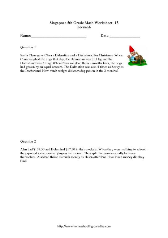 singapore 5th grade math worksheet 15 decimals worksheet for 5th grade lesson planet. Black Bedroom Furniture Sets. Home Design Ideas