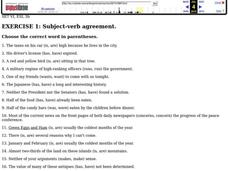 Exercise 1: Subject-verb Agreement Worksheet