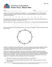 Number Theory: Modulus Math Worksheet