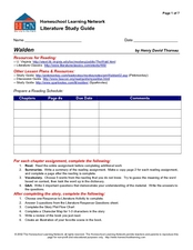 Walden Literature Study Guide Graphic Organizer