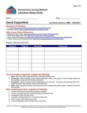 Literature Study Guide: Dickens' David Copperfield Graphic Organizer