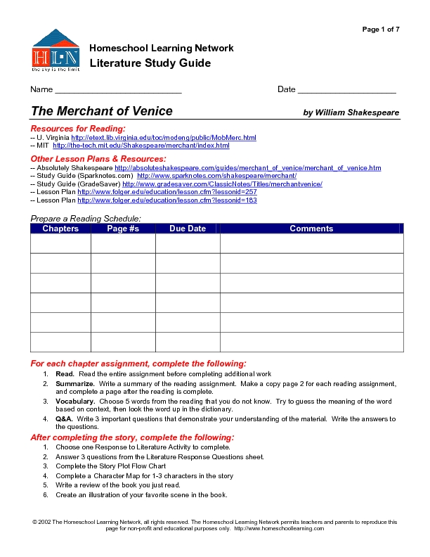 Literature Study Guide: The Merchant of Venice Worksheet for