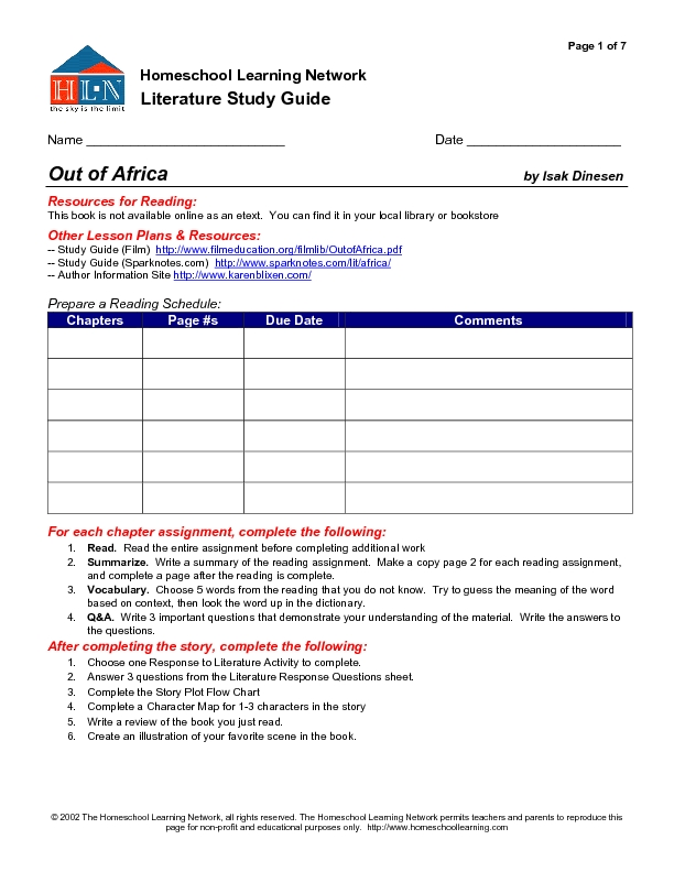 Literature Study Guide: Out of Africa Graphic Organizer