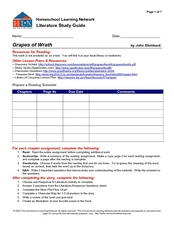 Literature Study Guide: Grapes of Wrath Worksheet