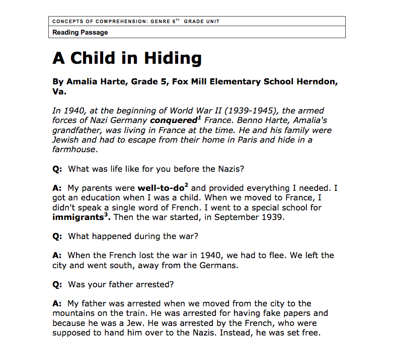 Reading Passage: A Child in Hiding Worksheet
