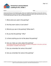 "Looking At Art, Grade 1 ""The Dancing Class"" Worksheet"