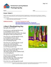 A Boy's Thanksgiving Day Worksheet