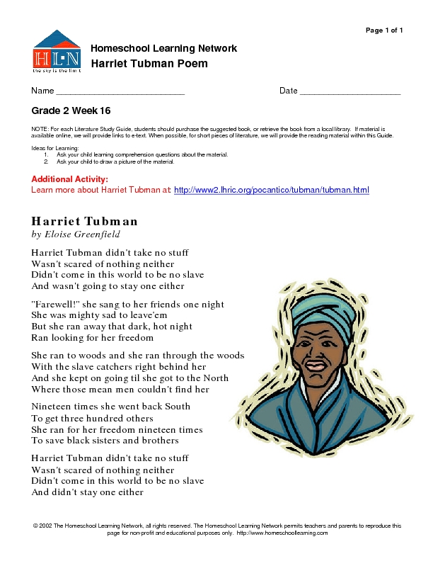 Eloise Greenfield poem Harriet Tubman 2nd 3rd Grade Worksheet – Harriet Tubman Worksheet