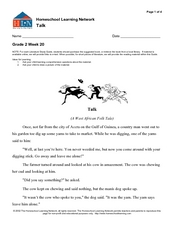 Reading Comprehension-Homeschool Learning Network Worksheet