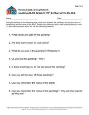 Looking At Art, Grade 5: 19th Century Art in the U.S.  Worksheet