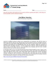 5th Grade Songs: God Bless America Worksheet