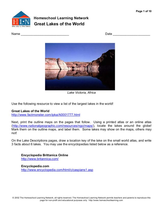 Homeschool Learning: Great Lakes of the World Worksheet
