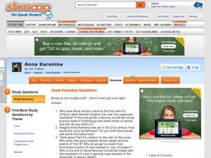 anna karenina essay questions Free coursework on anna karenina foreshadowing from essayukcom, the uk essays company for essay, dissertation and coursework writing.