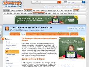 The Tragedy of Antony and Cleopatra Theme of Betrayal Worksheet
