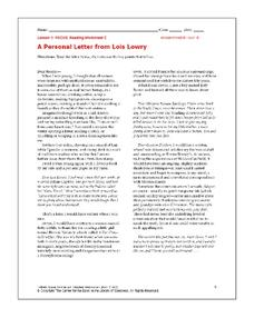 A Personal Letter from Lois Lowry Worksheet