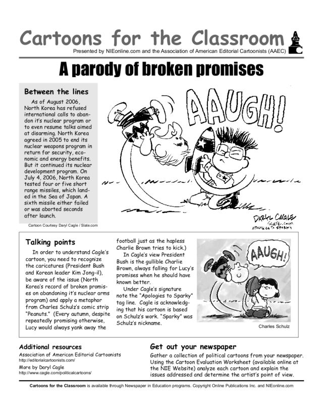Cartoons for the Classroom A Parody of Broken Promises 8th 12th – Political Cartoon Analysis Worksheet