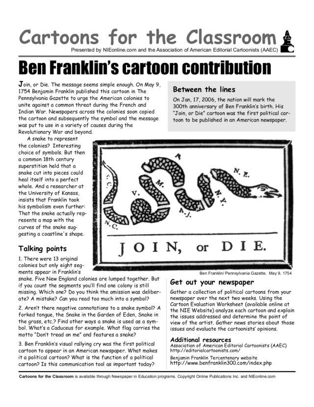 Cartoons For The Classroom Ben Franklin 39 S Cartoon