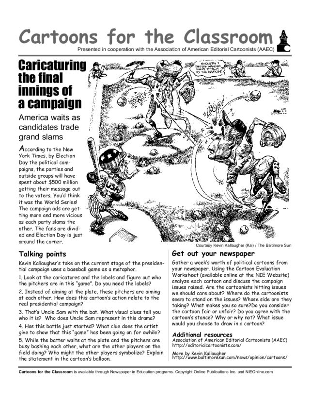 Cartoons for the Classroom: 2004 Presidential Election Worksheet