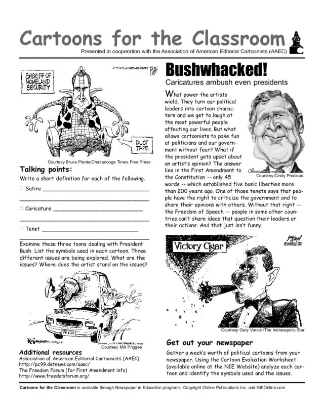 Cartoons for the Classroom: Bushwhacked Worksheet for 8th