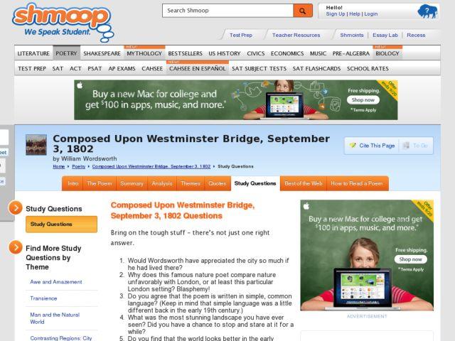 wordsworth westminster bridge analysis