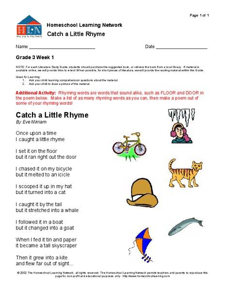 rhyming words worksheet for 3rd grade lesson planet. Black Bedroom Furniture Sets. Home Design Ideas