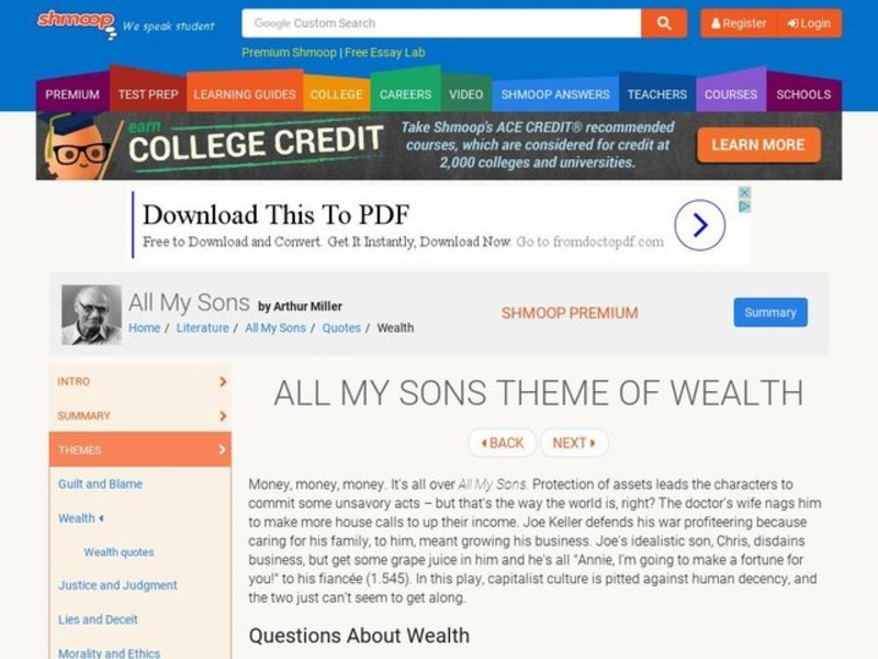 All My Sons Theme of Wealth Interactive