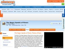 The Negro Speaks of Rivers Theme of Race Worksheet