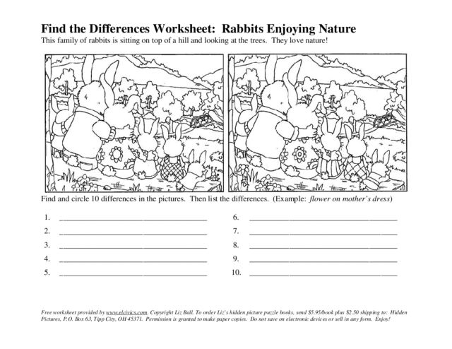 find the differences rabbits enjoying nature worksheet for 1st 4th grade lesson planet. Black Bedroom Furniture Sets. Home Design Ideas