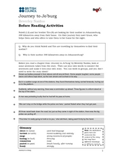 Journey to Jo'burg: Before and After Reading Activities Worksheet