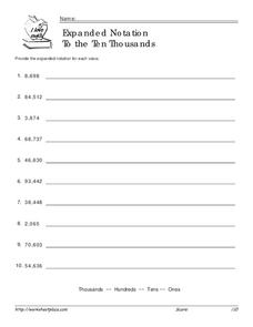 Expanded Notation to the Ten Thousands Worksheet