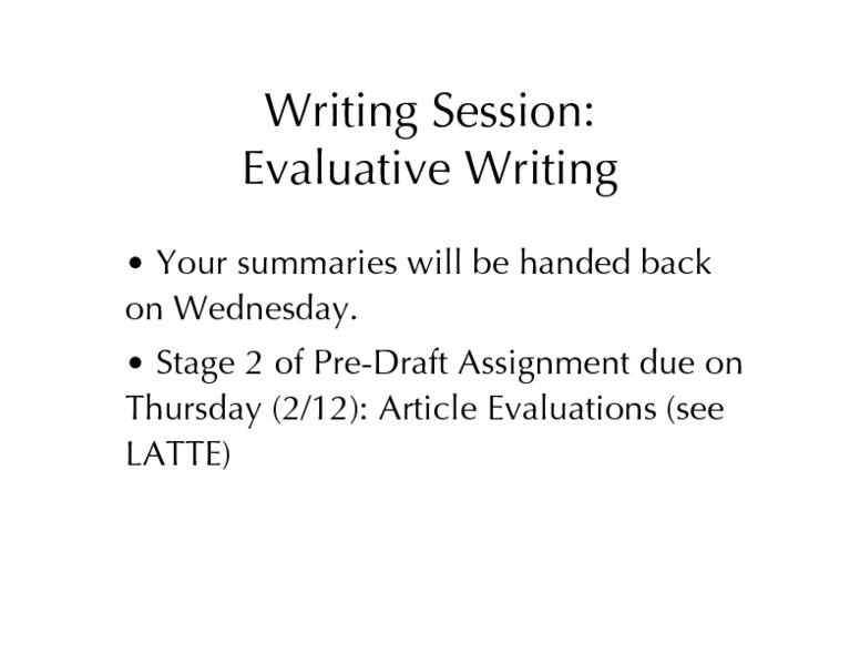 evaluative writing
