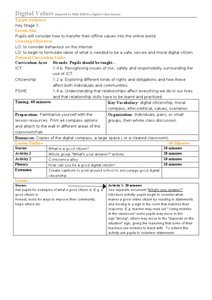 Digital Values Internet Safety Lesson Plan For 2nd 5th Grade