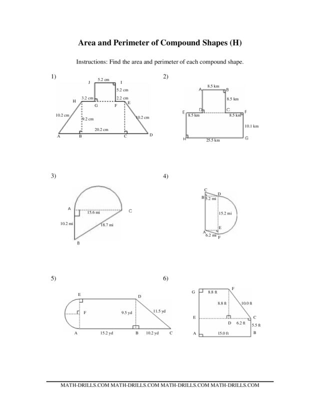 area of composite figures worksheet - Termolak