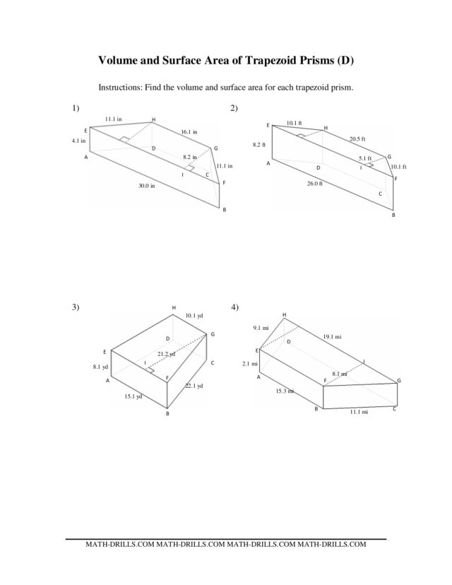 Volume and Surface Area of Trapezoid Prisms (D) Worksheet
