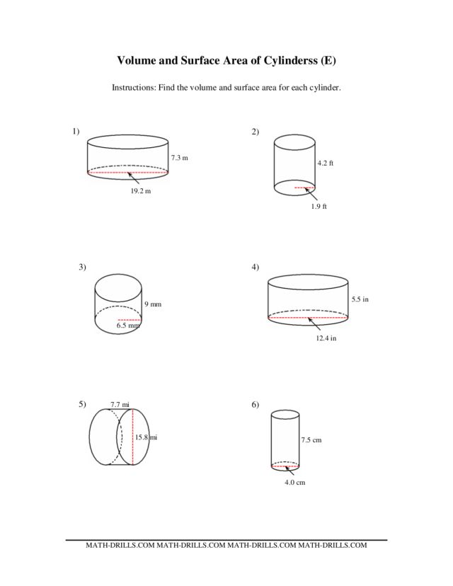 Volume and Surface Area of Cylinders (E) Worksheet for 5th