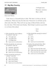 Friendly Letter: Big Sky Country Worksheet