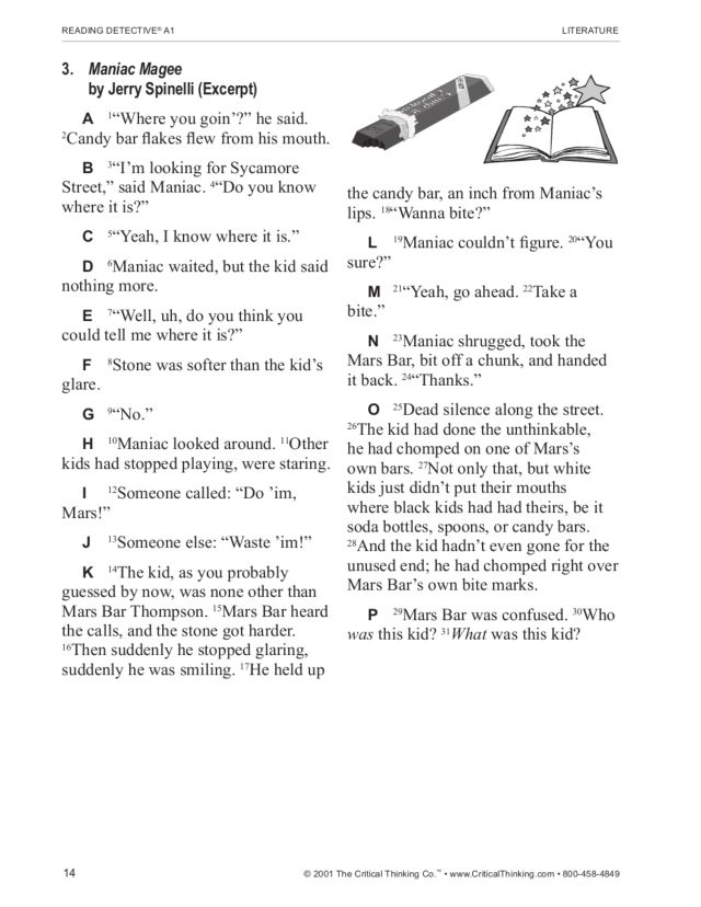 Spinelli's Maniac Magee (excerpt): Reading and Critical Thinking Practice  Worksheet